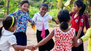 Cambodian children dancing at a Globalteer project