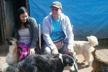 Jim and Camila at the dog rescue shelter
