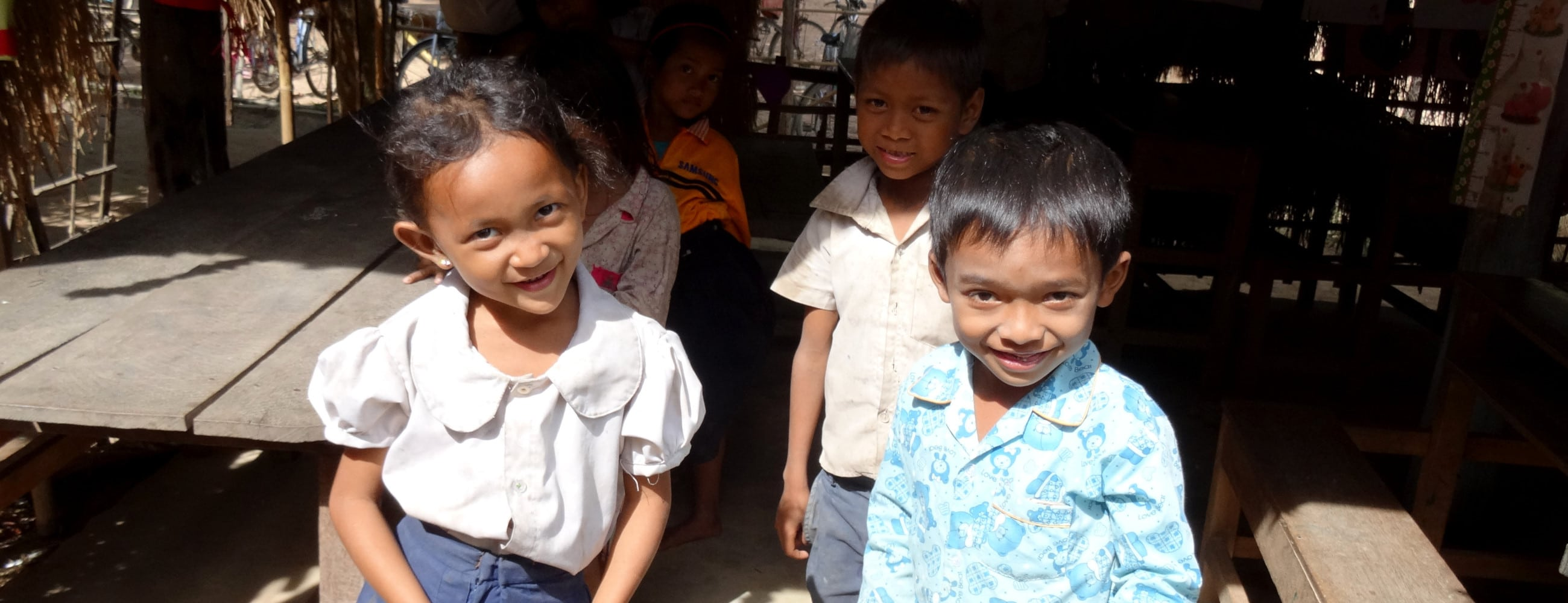 Students at the Cambodia community project