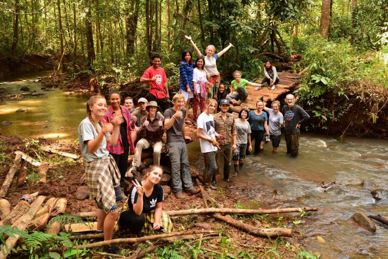 Volunteers at the elephant sanctuary