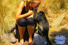 Volunteer with monkey