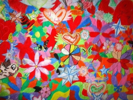 Childrens art work at community project