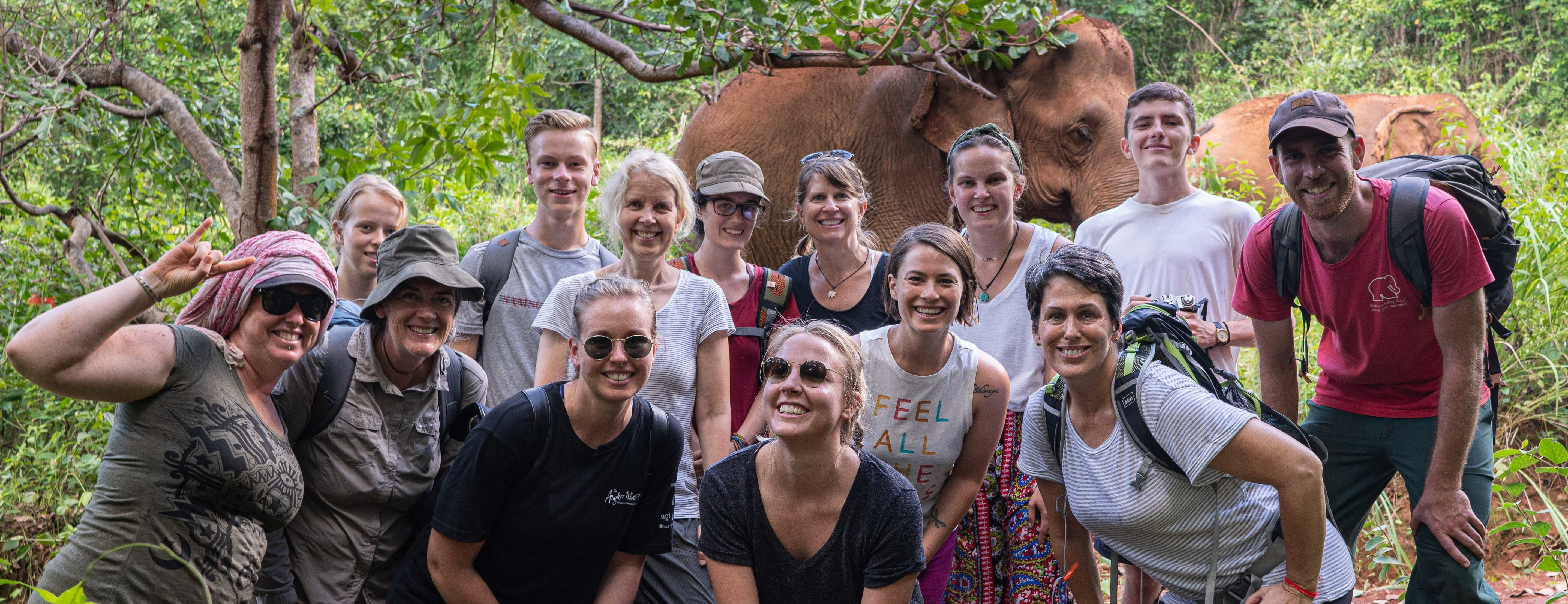 Volunteer group with the elephants