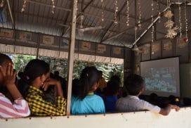 Children watching plastic pollution video