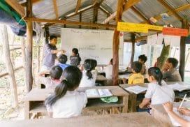 Teaching child safety lesson Cambodia